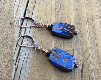 Cobalt Blue Dangle Earrings, Blue Square Earrings, Cobalt Blue Picasso, Bright Blue Earrings, Boho Blue Jewelry Earrings