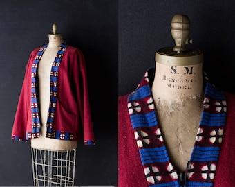 Wool Kimono Coat - Handmade Brick Red / Rust Happi Jacket - Shibiro Style Print - Oversized L / XL