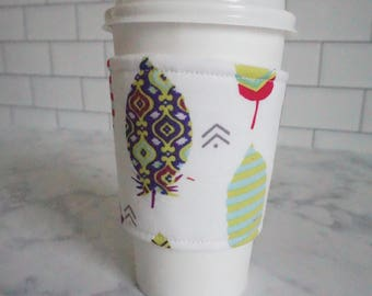 Reusable Coffee Sleeve-Feather Print
