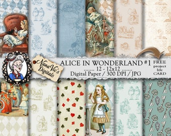 Alice in Wonderland Digital Papers 3: Printable collage sheet, toile patterns, journal Scrapbooking paper Photography back drop John Tenniel