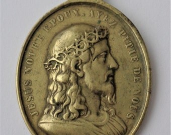 Superb Old Religious Medal Jesus And Mary Signed Vachette