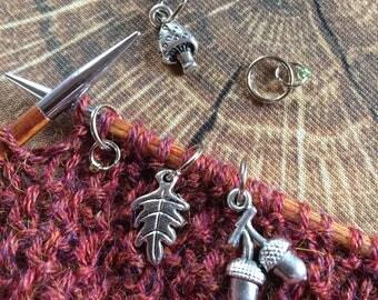 Mini-woodland - set of 5 stitch markers
