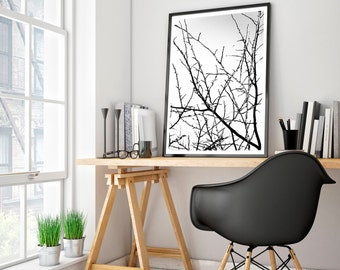 tree art, tree print, tree artwork, modern art, black and white prints, printable art, minimalist print, minimalist art, black and white art