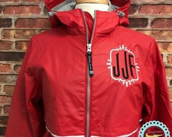 FREE SHIPPING-Monogrammed Charles River Rain Jacket - Monogrammed Rain Coat - Monogrammed Rain Jacket - Monogrammed Jacket-Valentine's Gift