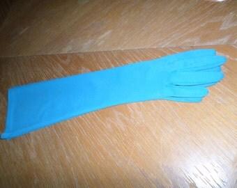 Vintage Pair of Medium Blue Elbow Length Gloves Size 6