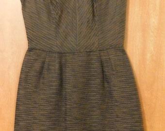 Vintage Ladies Lord & Taylor Key Hole Front Brown Black Formal Dress
