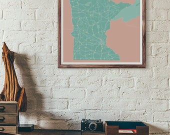 Home Edition - Minnesota Map print