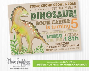 Dinosaur Birthday INVITATION, Personalized Printable PDF and JPG