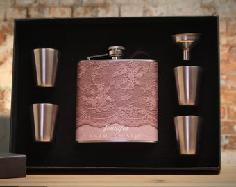 5 Personalized Flasks, Bridesmaid Gift, Custom Gift