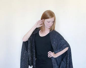 Black Cape-Silver-Long Silk Scarf-Silk Scarf Cape-Cape Scarves-Blanket Scarf-Blanket Scarves-Day to Night Scarves-Oversized Scarves-Cape