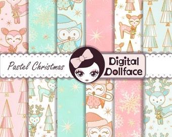 Pastel Christmas Digital Paper: Christmas Deer & Owl Patterns / Woodland Christmas, Holiday Digital Paper