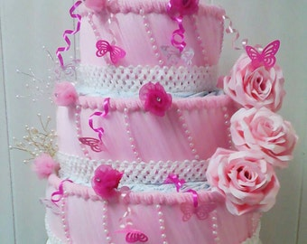 Light Pink and Hot Pink Butterfly Diaper Cake , 3 Tier Elegant Baby Girl Shower Decor , Table Centerpiece , Baby Sprinkle Gift