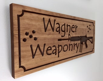 Gun Signs Personalized Wooden Sign With Bullet Holes AR 15 Gifts for Hunters Gun Range NRA Members Hunters Concealed Carry License Shooting
