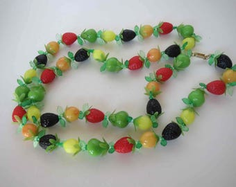 HONG KONG Funky & Fun Vintage Long Plastic Fruit Necklace