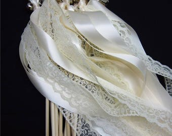 100 Ceremony Wedding Wands TRIPLE ribbon/lace with bells. Your choice of colors.