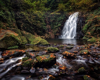 "Fine Art Photography, Landscape Photography, Wall Art, Landscape Print, Ireland - ""Glenoe Waterfall"""