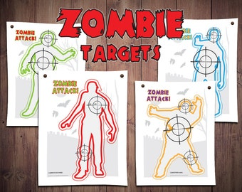 nerf party, nerf shooting game, nerf bullseye, nerf printables, printable kids games, zombie printables, nerf zombie party, bulls eye