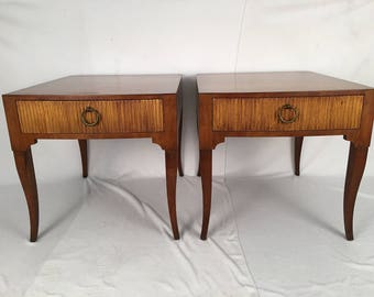 Terrific Vintage Pair Baker Hollywood Regency End Tables