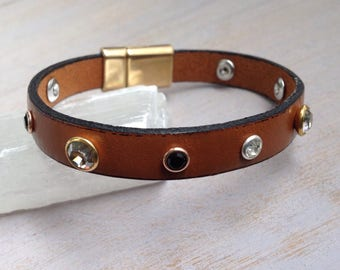 Tan Leather bracelet, genuine Swarovski Crystals Rhinestones, magnetic clasp, Gold tone, Classic Tan Leather, Boho