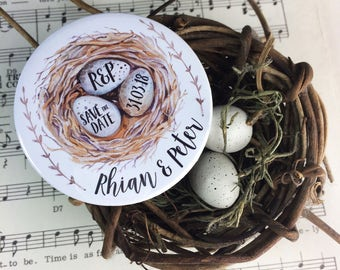 Wedding Save The Date Magnets - Bird's Nest Design Complete With Organza Bags (59mm)