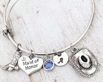 Bridesmaid Wedding Bracelet - Country Western Bridesmaid Bracelet - Bridal Party Gifts - Bridesmaid Jewelry Gifts - Wedding Charm Bracelet