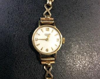 9ct gold hallmarked longines watch on bracelet