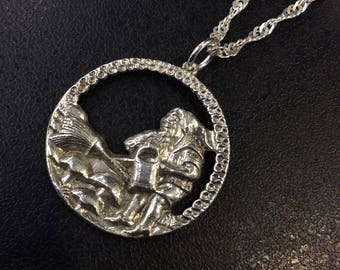 Silver gnome watering his garden pendant on chain