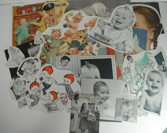 Vintage Magazine Clippings 1940s 1950s Kids Babies 22pc for Altered Art, Collage, Scrapbooking, Decoupage, Smash Books, Junk Journals Kitsch
