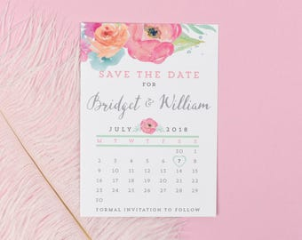 Save the Date - Bridget - Watercolour Wedding Flowers - Spring/Summer Wedding