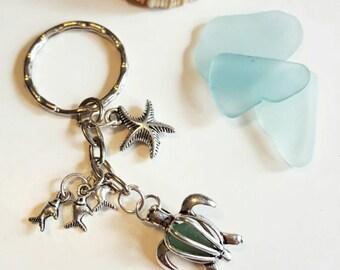 Seaglass Turtle Pearl Keyring