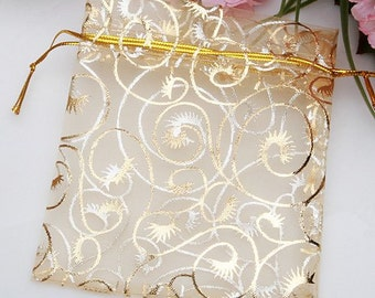 10 -  Champagne Organza Gift Bags With Drawstring 9 x 11cm
