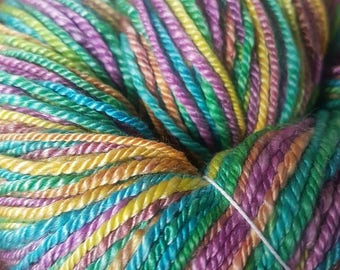 Handspun Merino Tencel Worsted Weight Self Striping Yarn 230m