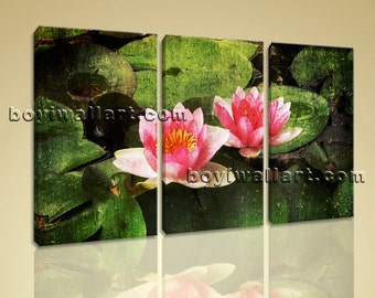 Large Lily Flower Floral Abstract Print Canvas Wall Art 1 Panels Giclee Prints, Large Lily Flower Wall Art, Bedroom, Army green