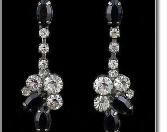 Eisenberg Ice Black and Clear Rhinestone Pierced Earrings  (Inventory #J826)