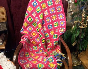 Pink granny square afghan throw blanket girls room decor. Free ship to US