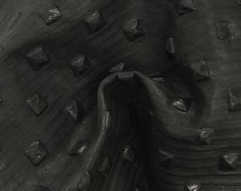"Studded Rebellious Black Lambskin Leather Hide 8"" x 10"" Project Piece 1 1/2-2 ounces TA-53240 (Sec 3,Shelf 3,A)"