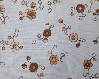Fat quarter of vintage brown and White floral fabric