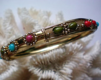 Gold tone Multi Colored Cabochon Bangle Bracelet - 5149