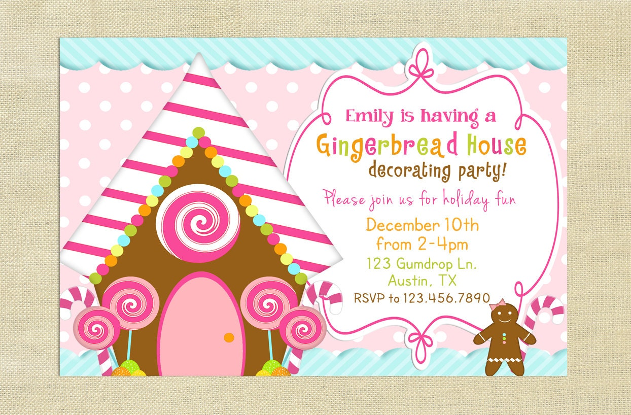 Gingerbread house decorating party invitation cute party Gingerbread house decorating party invitations