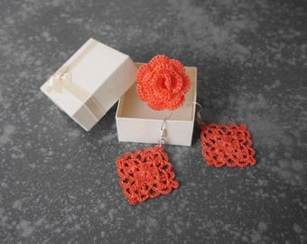 ORANGE crochet adornment