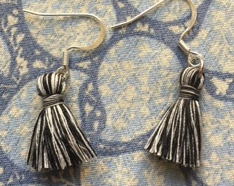 Tassel Earrings-Black and White