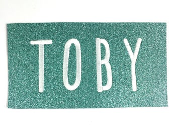 Personalised Name Badge Embriodered Patch Glitter Felt Sew On Label Cool Mint