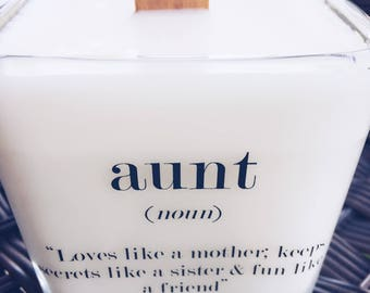 NEW Aunt Message Soy Candle~ 12oz Soy Candle~Bridesmaids Gifts~Bridal Party Gifts~Aunt Gifts~Baby Shower Thank You Gift~Aunt Wedding Gift