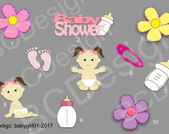 Clipart- set of 10 digital baby girl images