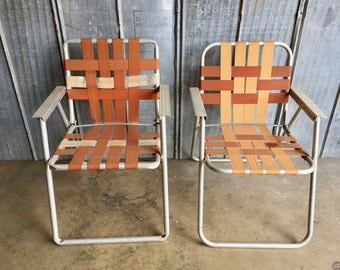 Vintage Lawn Chairs / Pair / Mid Century Chairs / 1960s / Aluminum / Outdoor / Patio Furniture / Lawn Chair / Retro / Industrial