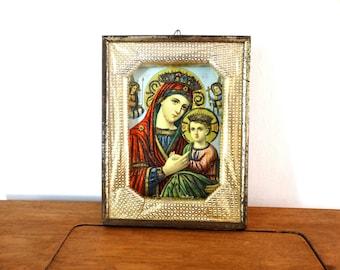 Large Virgin Mary Icon, Catholic Art, Jesus Christ Icon, Religious Wall Art, Orthodox Icon, Christian Wall Decor, Religious Shrine Decor,