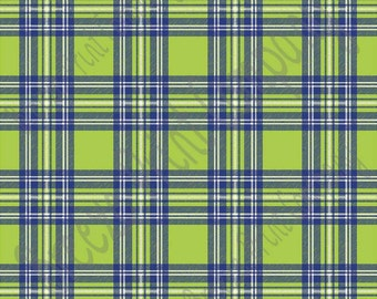 Lime, navy and white tartan plaid craft vinyl sheet - HTV or Adhesive Vinyl -  HTV1852