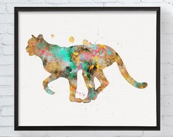 Watercolor Cheetah Art, Cheetah Print, Cheetah Painting, Animal Decor, Watercolor Animal, Animal Prints, Safari Nursery, African Animals