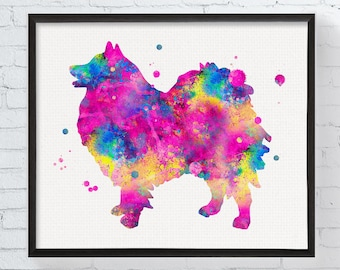 Watercolor Keeshond Art, Keeshond Print, Keeshond Dog Watercolor Print, Dog Breed, Dog Lover Gift, Watercolor Dog Art, Keeshond Illustration