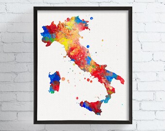 Italy Wall Art, Italy Print, Italy Poster, Italy Map, Map Art, Map Print,  Art, Custom Color Scheme, Gift Idea, Watercolor Art Print, Framed